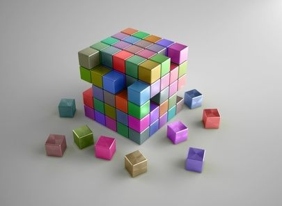Colorful crumbling cubes