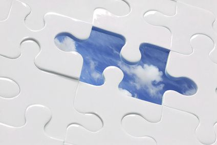 White jigsaw with piece missing and sky Background; CP for missing piece included